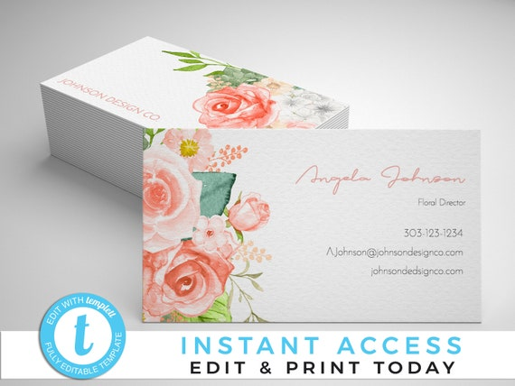 Peach floral business cards floral business cards business etsy image 0 friedricerecipe Images