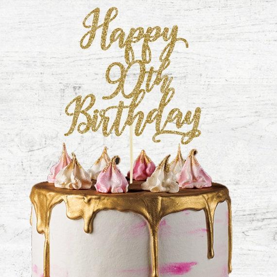 Fantastic Happy 90Th Birthday Cake Topper Glitter Card Cake Topper Etsy Personalised Birthday Cards Veneteletsinfo