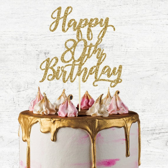 Incredible Happy 80Th Birthday Cake Topper Glitter Card Cake Topper Etsy Funny Birthday Cards Online Fluifree Goldxyz