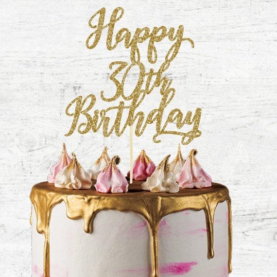 Marvelous Happy 30Th Birthday Cake Topper Glitter Card Cake Topper Etsy Funny Birthday Cards Online Alyptdamsfinfo