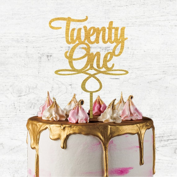 Lasercut,Rustic 21st Birthday Cake Topper Wooden Happy Twenty First Cake Decor