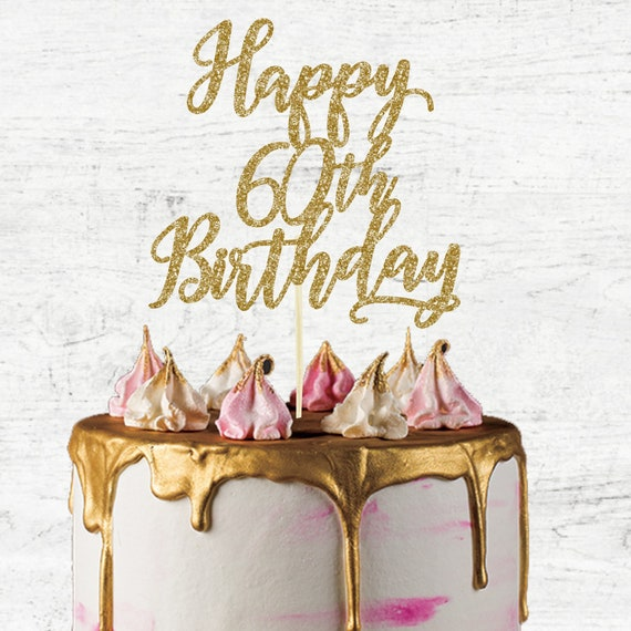 Peachy Happy 60Th Birthday Cake Topper Glitter Card Cake Topper Etsy Funny Birthday Cards Online Bapapcheapnameinfo