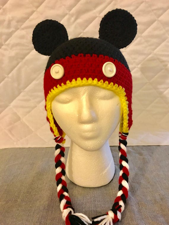 Mickey Mouse Crocheted Hat with Earflaps and Tassels 5878ba47637