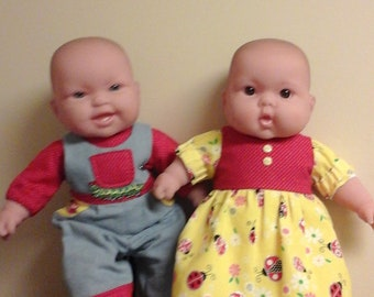 "1ofakinddollclothes twin babydoll outfits, American Girl Bitty baby,  and other 15""dolls.   Ladybug dress, denim boy overalls matching shoes"