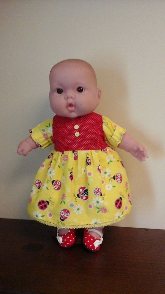 """Yellow and White 5 Piece Outfit for Bitty Baby or any 15/"""" doll"""