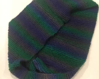Purple and green knit infinity scarf ready to ship