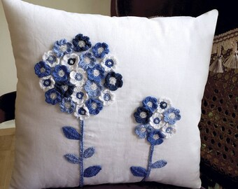 Hand Made Cushion Cover with Crochet Detail.