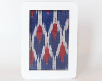 Blue and Maroon Ikat in White frame 10 x 15cm