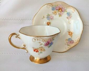 Vintage Foley cup saucer Vintage cup Floral cup saucer Gold cup  saucer Mother gift Gift for her Collection gift Cabinet tea set