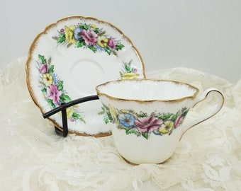 Vintage Royal Stafford Cup Saucer Bone China Teacup Saucer Blossom cup Special Occasion Health Happiness Floral cup 1950's Collection gift