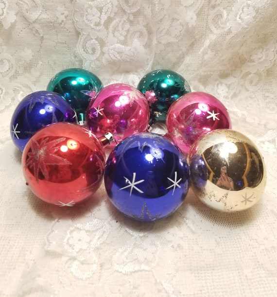 Colorful Christmas.Colorful Christmas Ornaments Set Vintage Christmas Decoration Vintage Glass Boll Ornaments Red Blue Pink Green Gold Decoration New Year Toys