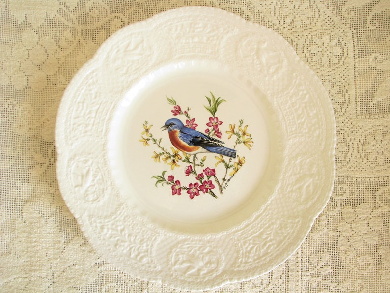 Bluebird Plate Vintage Royal Cauldon Plate Embossed Edge Plate Etsy