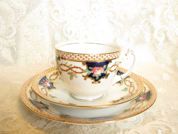 Antique tea set Wild Bros cup saucer cake plate Lewis pattern hard to find  Rare tea set Antique china tea set Gift for china collector