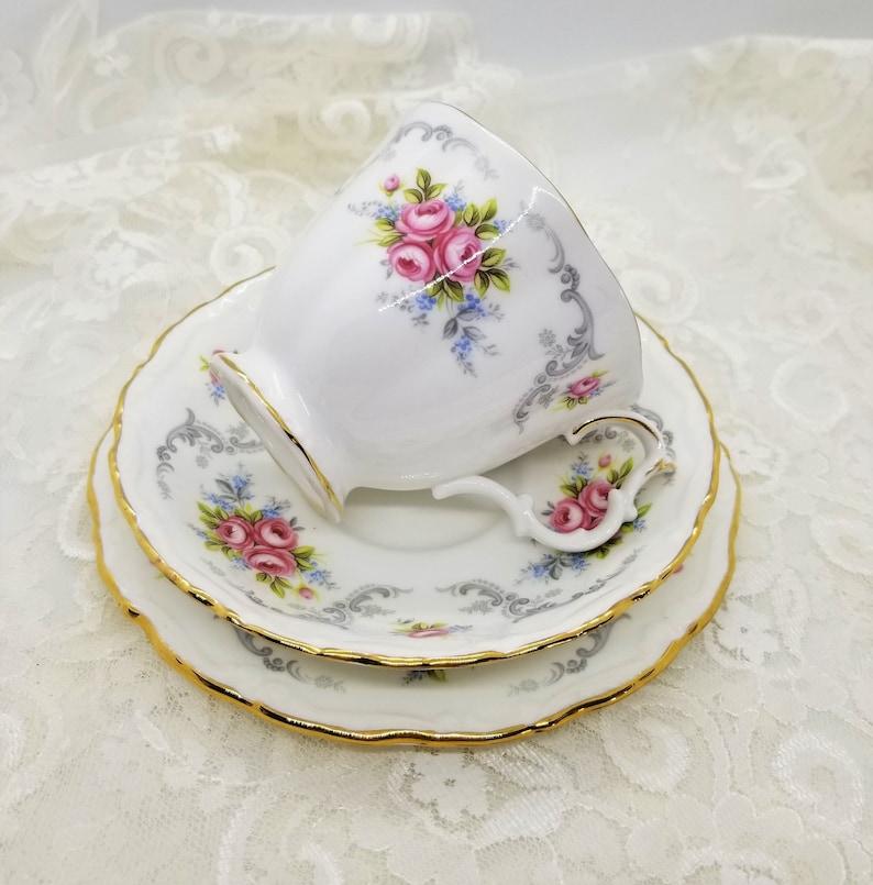 Vintage Royal Albert Trio Tea Cup Saucer cake plate Tranquillity Vintage bone china cup English tea cup and saucer set Vintage china set