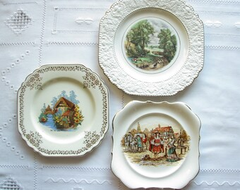 Vintage Wall plates Wall decor Wall hanging Mismatched plate set Country Scenic Plates Farmhouse Decor Country & Plate wall decor   Etsy