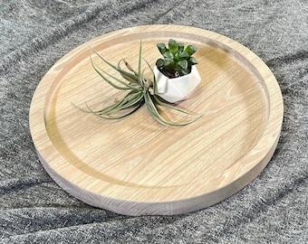 Round WHITE OAK Ottoman Tray Circle Hardwood Oversized Exotic Wood Serving Tray