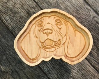 """8"""" Dachshund Catch All Tray -Maple Ring Dish - READY TO SHIP -  Gifts - 5th Anniversary - Solid Hardwood Food Safe Catchall Tray"""