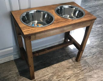 The Farmhouse Style Raised Dog Feeder Raised Dog Bowl Stand Elevated Dog Bowl Dog Dish Dog Feeder Dog Bowl Feeding Stand Elevated Dog Bowls