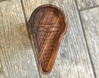"""Ice Cream Cone Ring Dish 7x4"""" - READY TO SHIP -  Gifts - 5th Anniversary - Walnut - Solid Hardwood Food Safe Catchall Tray"""