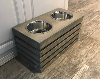 Raised Dog Bowl Stand READY TO FINISH Raised Crate Dog Bowls Elevated Dog Bowl Dog Feeder Dog Bowl Crate Feeding Stand Elevated Dog Bowls