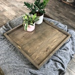 Ottoman Tray OVERSIZED Wooden Ottoman Tray LARGE Wooden Ottoman Tray Square Coffee Table Tray Farmhouse Table Tray Wooden Serving Tray