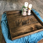 Custom Ottoman Tray Wedding Gift Wooden Engraved Ottoman Tray Large Wooden Serving Tray Monogrammed Coffee Table Tray Farmhouse Table Tray