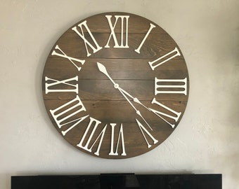 """Large Wall Clock 36"""" """"The Bailey"""" Roman Numeral READY TO SHIP Handcrafted Wooden Wall Clock - Vintage Ash"""