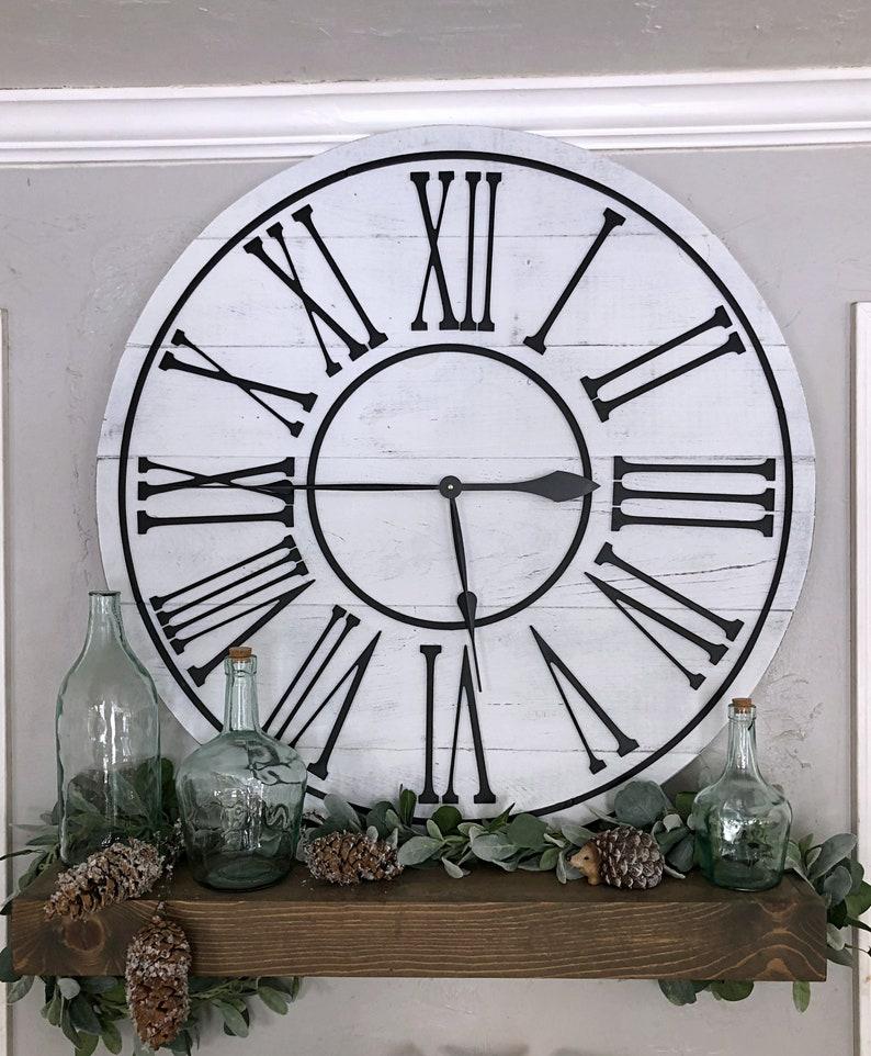 Big Wall Clock The Summer Roman Numeral Overlay Etsy