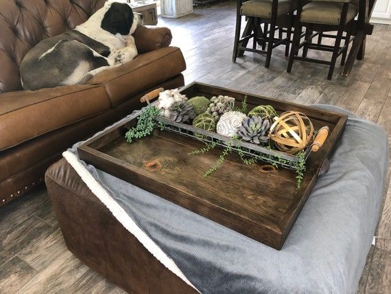 Phenomenal Ottoman Tray Wooden Ottoman Tray Large Wooden Ottoman Tray Square Coffee Table Tray Farmhouse Table Tray Wooden Serving Tray Ncnpc Chair Design For Home Ncnpcorg
