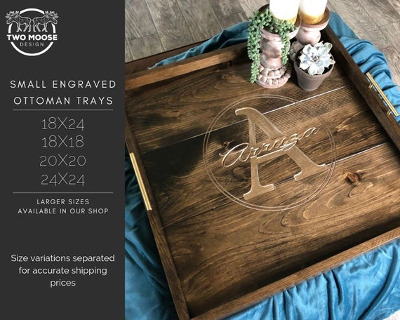 Marvelous Custom Ottoman Tray Wedding Gift Wooden Engraved Ottoman Tray Large Wooden Serving Tray Monogrammed Coffee Table Tray Farmhouse Table Tray Ncnpc Chair Design For Home Ncnpcorg