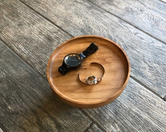 """7"""" Cherry Catch All Tray - READY TO SHIP -  Gifts - 5th Anniversary - Wood - Solid Hardwood Food Safe Catchall Tray"""