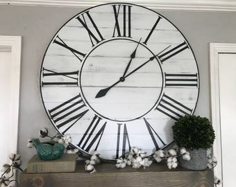 "Big Wall Clock ""The Rae"" Roman Numeral Farmhouse Wall Clock Roman Numeral Oversized Wall Clock Handmade Wooden Clock Big Clock"