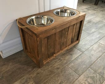 Raised Dog Bowl Stand with Storage Dog Bowls with Storage Dog Food Stand Dog Feeder with Storage Rustic Dog Stand Raised Rustic Pet Feeder