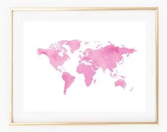 World Map Wall Art, Travel Print, World Map Printable, World Map Art, World Map Digital Print, Office Wall Art, Travel Wall Art, Map Decor