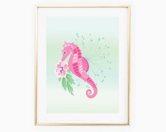Seahorse Digital Print, Seahorse Decor, Seahorse Wall Art, Seahorse Art, Wall Print, Seahorse Nursery, Seahorse Art, Seahorse Digital Art