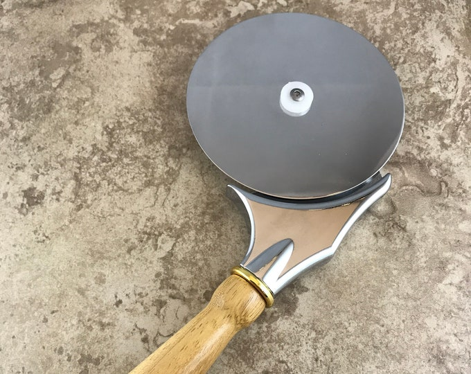 Hand Made Pizza Cutter - Exotic Iroko with Gold Accents