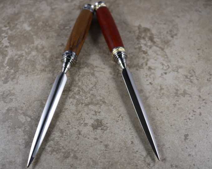Hand Made Letter Opener (Majestic) - Genuine Teak with Chrome Accent