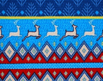 Ugly Sweater Reindeer Diamonds Hacci Sweater Knit Fabric