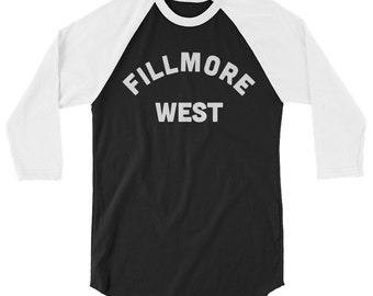 a86836ed Fillmore West made to order ringer or 3/4 Baseball T shirt, Vintage  inspired, San Francisco Music Venue, Allman Brothers, Joe Cocker, rock