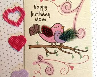 Mother's Birthday Card, Birds Birthday Card, Birds with Feathers Birthday Card, Mom and Baby Bird Birthday Card