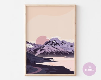 New Zealand Print | Mountain Print | New Zealand Wall Art | Illustrated Print | Purple Art | Printable Art | Digital Art | Instant download