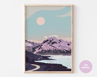 Mountain Art Print | New Zealand Mountain Wall Art | Illustrated Purple home decor  | Printable college dorm art | Instant download