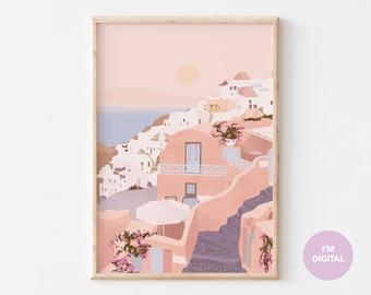 Santorini Print | Greece Print | Santorini Illustration | Illustrated Print | Pink Art | Printable Art | Digital Art