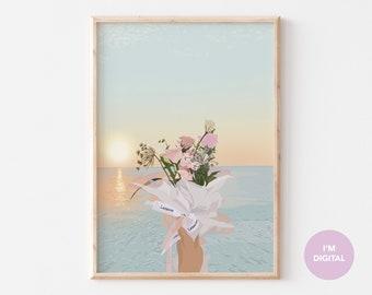 Floral wall art | Sunset Print art | Floral arrangements  | Illustration | water lakeside | Printable Art | college decor | dorm decor