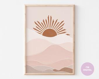 Boho Art Prints, Boho Wall Art, Abstract Gallery Wall, Printable Modern Art Poster, Minimal sunrise Print, Boho Print