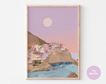 Cinque Terre Print | Italy Print | Cinque Terre art | Illustrated Print | Italy Art | Printable Art | Digital Art | Instant download | Dorm