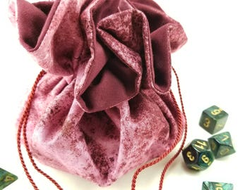 Drawstring Bag, Gift Bag, Dice Bag, Gift Pouch, Dungeons and Dragons, D&D, Maroon, Abstract - Large Size