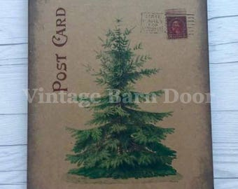 Christmas Tree Post Card 8x10 Canvas Art