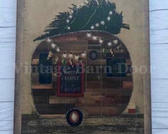 Happy Camper - Winter (Glitter) 8x10 Canvas Art