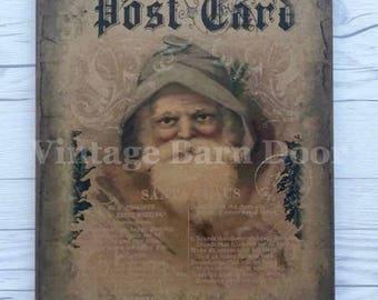 Santa Claus Post Card 8x10 Canvas Art
